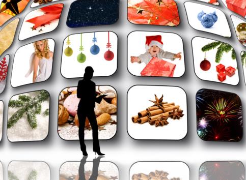 Holiday TV commercials on mulitple monitors