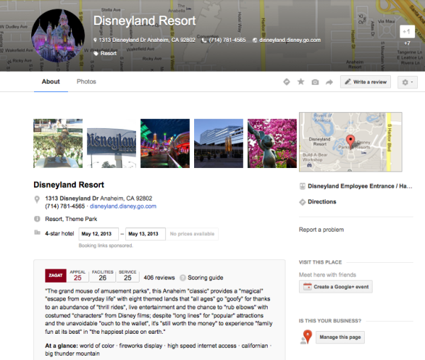 Google+ Page example with reviews