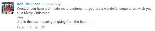 WestJet YouTube comment