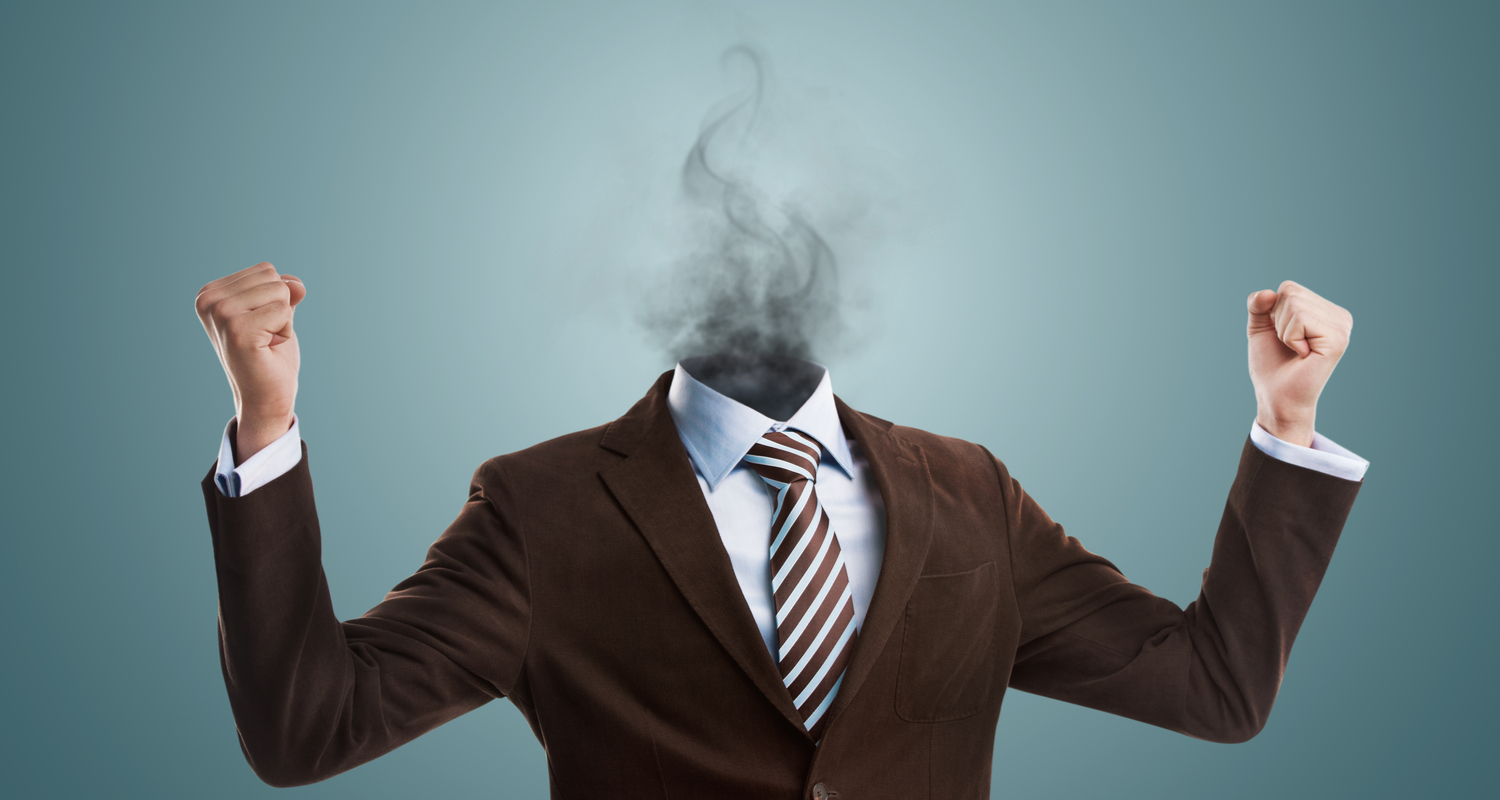 Man with head replaced by smoke