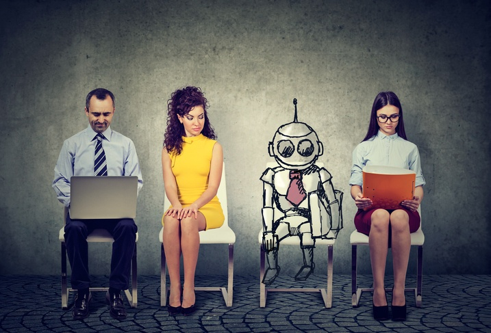 People and robot waiting for job interview